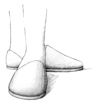Drawing showing two feet clad in slippers