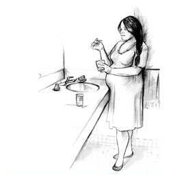 Drawing of a pregnant woman standing next to a bathroom sink and counter, holding a cup in her left hand and a test strip in her right hand. She is looking at the test strip. A container of test strips rests on the counter.